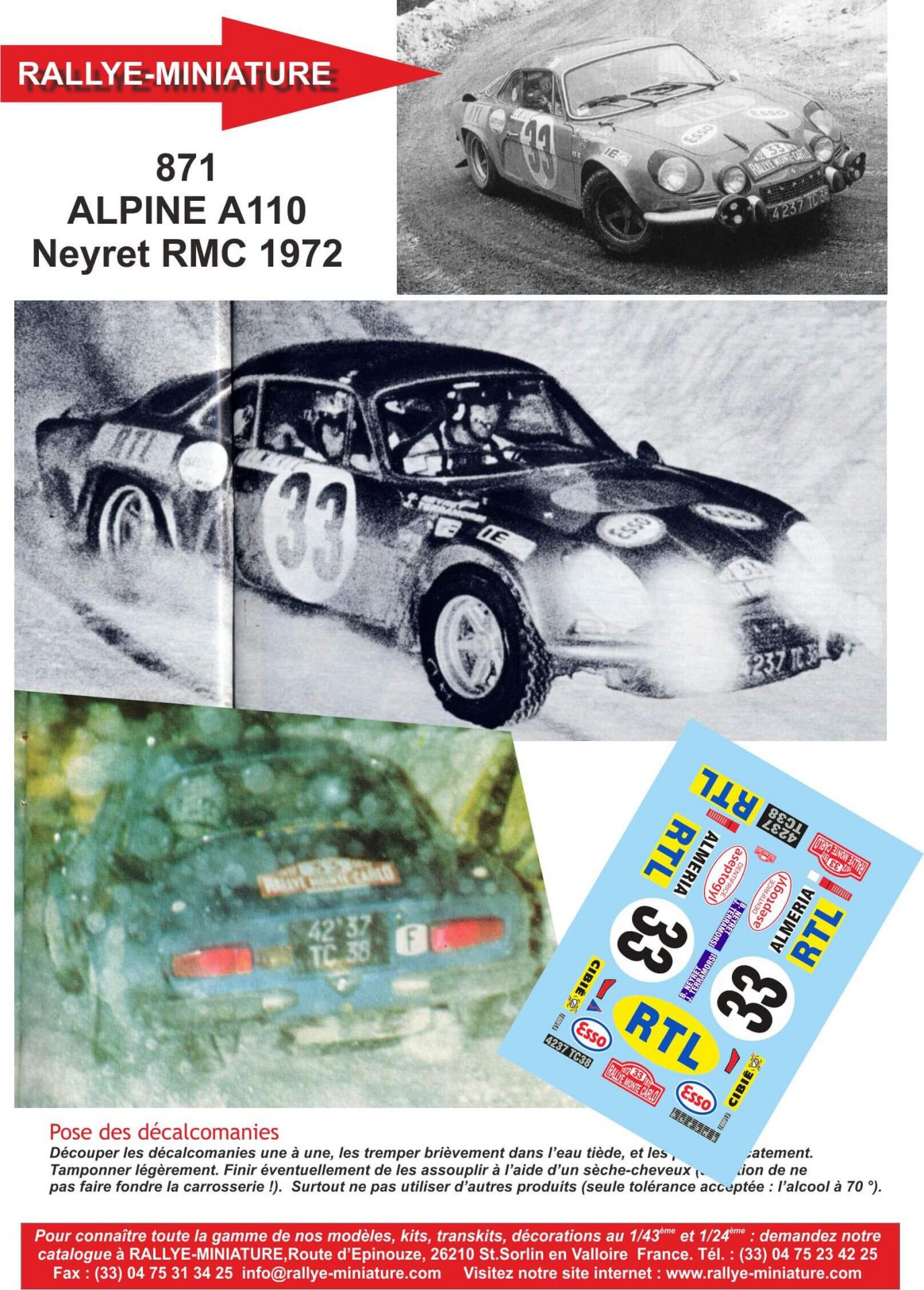 DECALS 1//32 REF 873 ALPINE RENAULT A110 DARNICHE RALLYE MONTE CARLO 1973 RALLY